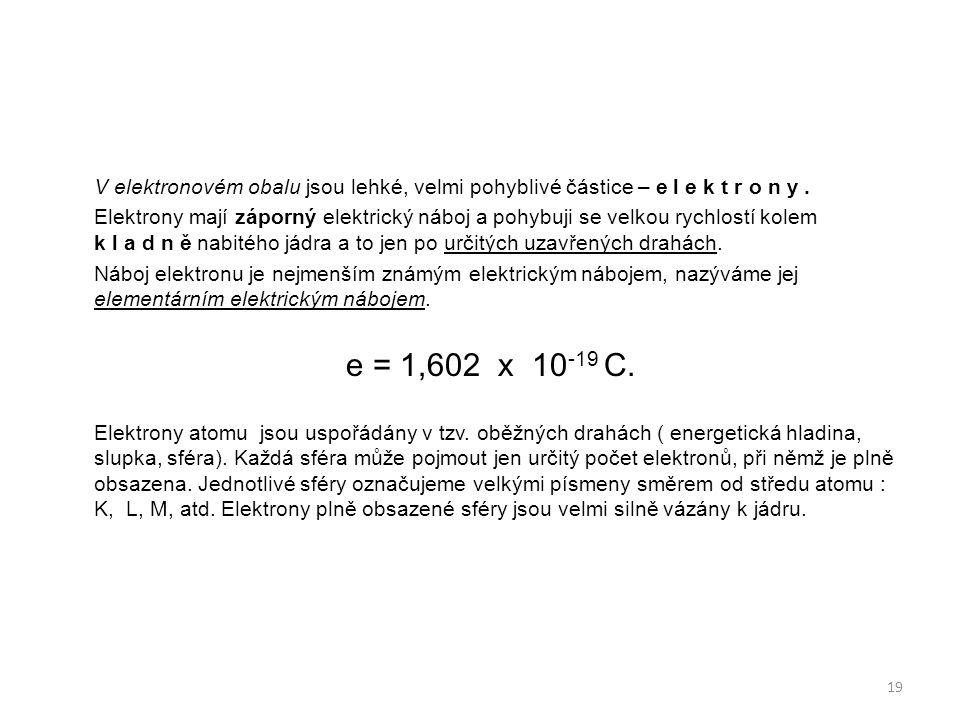 V elektronovém obalu jsou lehké, velmi pohyblivé částice – e l e k t r o n y .