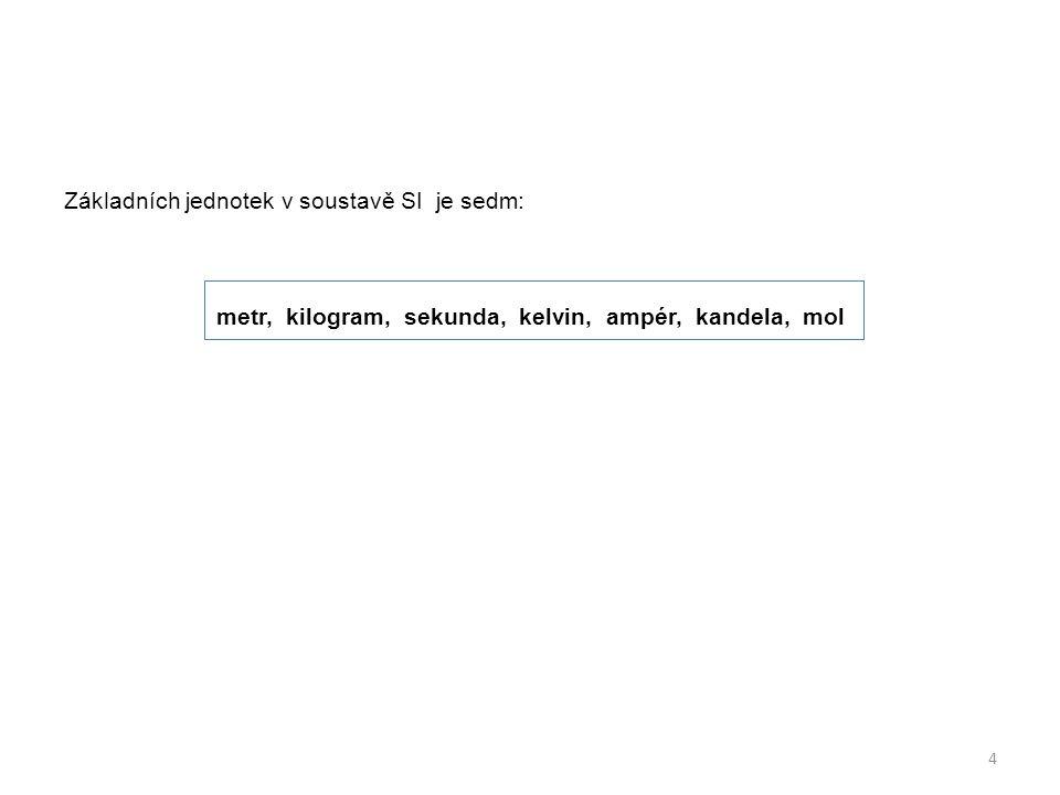 Základních jednotek v soustavě SI je sedm: metr, kilogram, sekunda, kelvin, ampér, kandela, mol