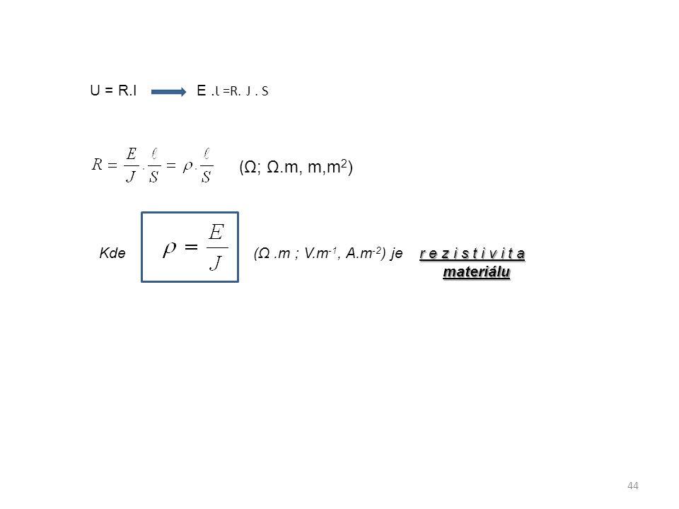 U = R.I E .Ɩ =R. J . S (Ω; Ω.m, m,m2) Kde (Ω .m ; V.m-1, A.m-2) je r e z i s t i v i t a.