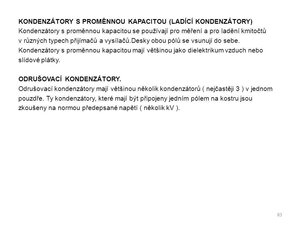 Kondenzátory s proměnnou kapacitou (ladící kondenzátory)