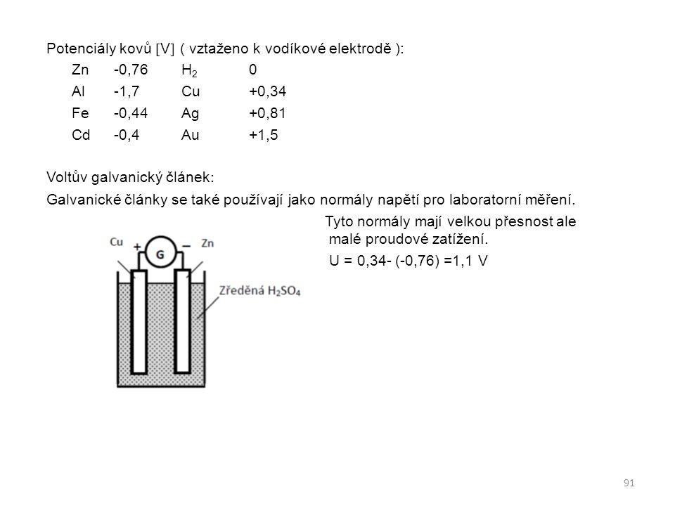 Potenciály kovů V ( vztaženo k vodíkové elektrodě ): Zn -0,76 H2 0 Al -1,7 Cu +0,34 Fe -0,44 Ag +0,81 Cd -0,4 Au +1,5 Voltův galvanický článek: Galvanické články se také používají jako normály napětí pro laboratorní měření.