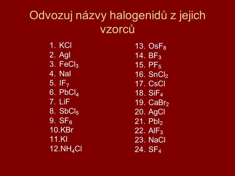 Odvozuj názvy halogenidů z jejich vzorců