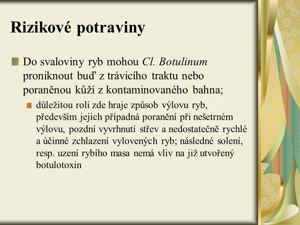 Rizikové potraviny Do svaloviny ryb mohou Cl. Botulinum proniknout buď z trávicího traktu nebo poraněnou kůží z kontaminovaného bahna;