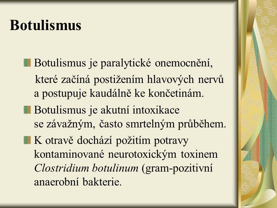 Botulismus Botulismus je paralytické onemocnění,