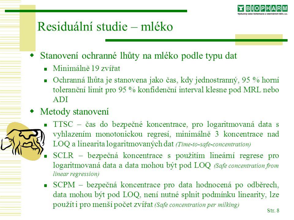 Residuální studie – mléko
