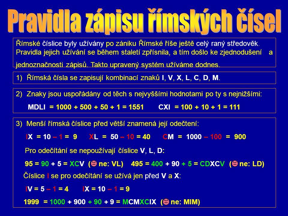 Pravidla zápisu římských čísel
