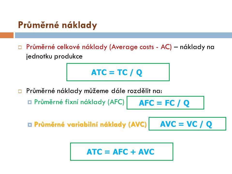 Průměrné náklady Průměrné celkové náklady (Average costs - AC) – náklady na jednotku produkce. Průměrné náklady můžeme dále rozdělit na: