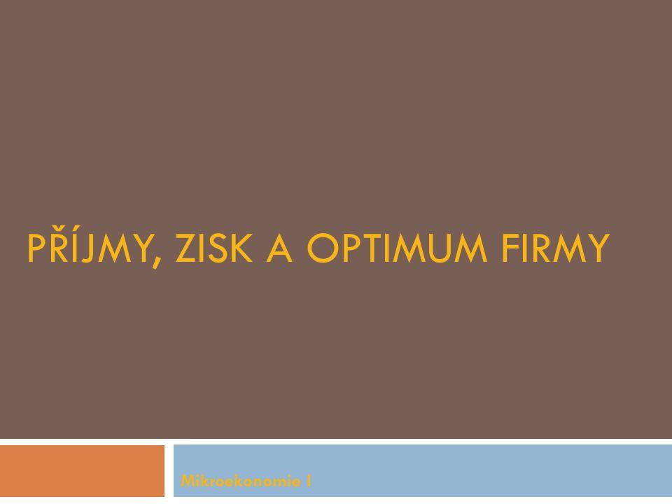 Příjmy, zisk a optimum firmy