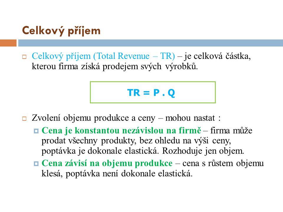 Celkový příjem Celkový příjem (Total Revenue – TR) – je celková částka, kterou firma získá prodejem svých výrobků.