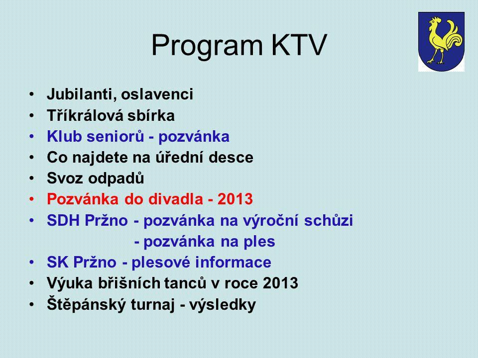 Program KTV Jubilanti, oslavenci Tříkrálová sbírka