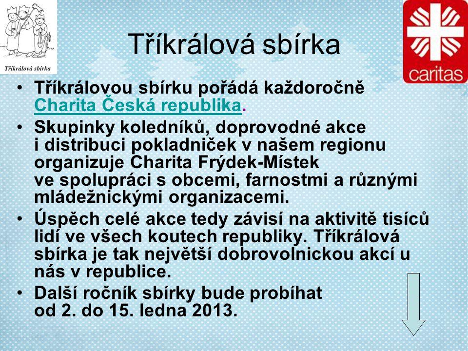 Tříkrálová sbírka Tříkrálovou sbírku pořádá každoročně Charita Česká republika.
