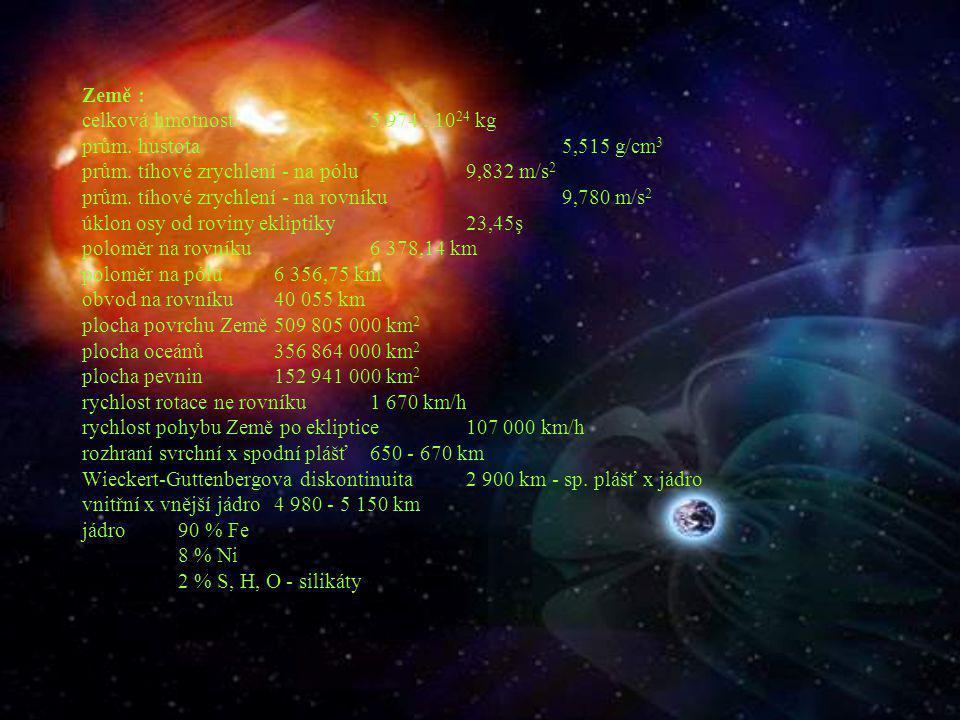 Země : celková hmotnost 5 974 . 1024 kg prům. hustota 5,515 g/cm3 prům.