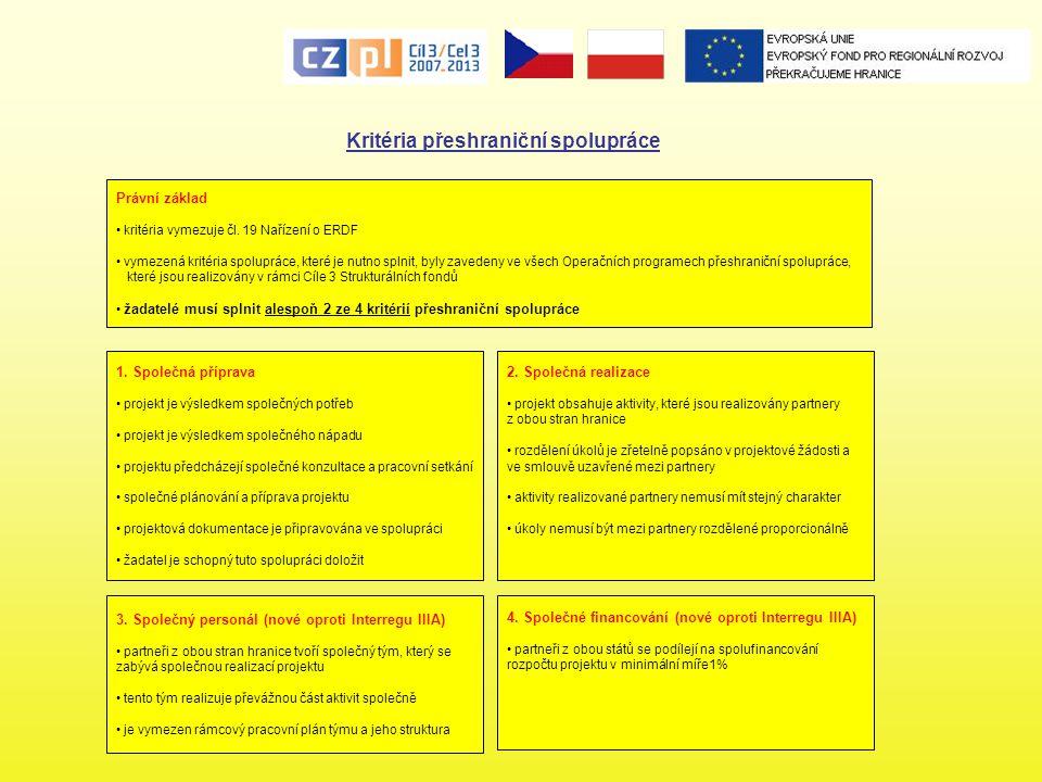 Kritéria přeshraniční spolupráce