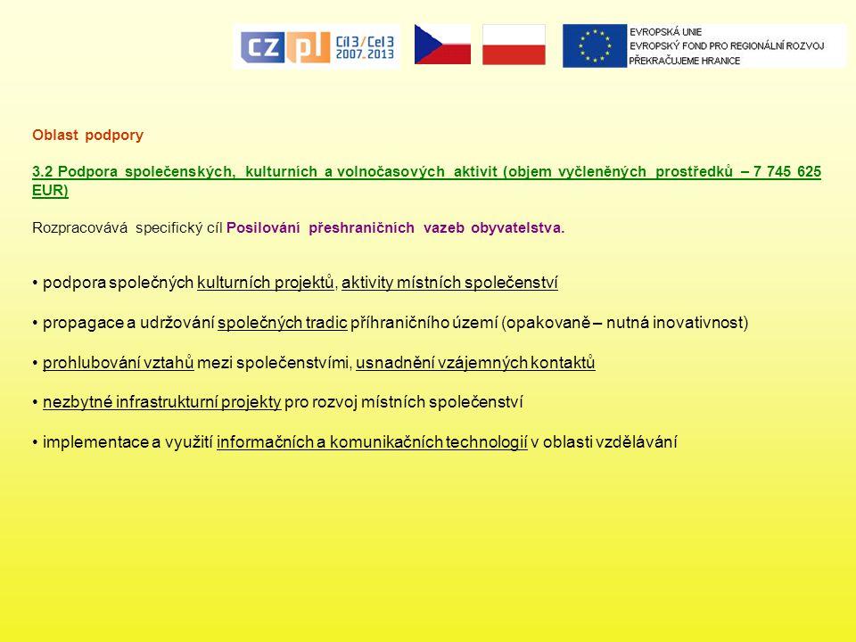 podpora společných kulturních projektů, aktivity místních společenství