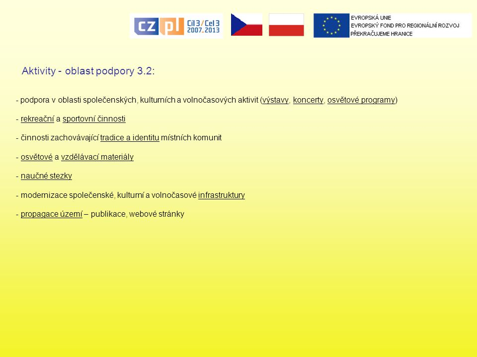 Aktivity - oblast podpory 3.2: