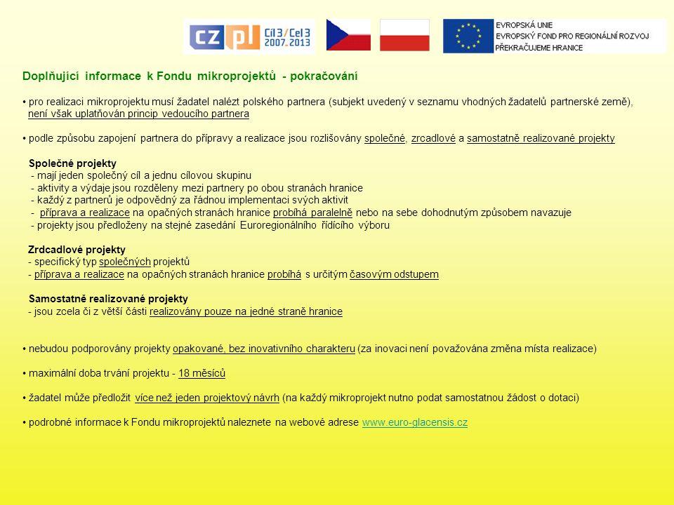 Doplňující informace k Fondu mikroprojektů - pokračování