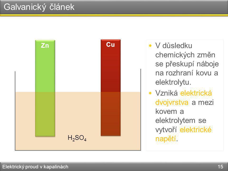 Galvanický článek Zn. Cu. V důsledku chemických změn se přeskupí náboje na rozhraní kovu a elektrolytu.