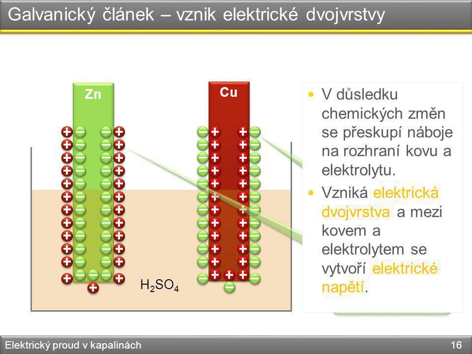 Galvanický článek – vznik elektrické dvojvrstvy