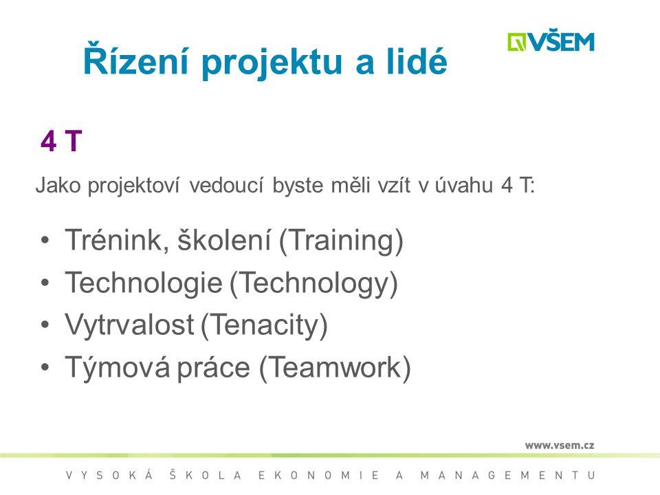 Řízení projektu a lidé 4 T Trénink, školení (Training)
