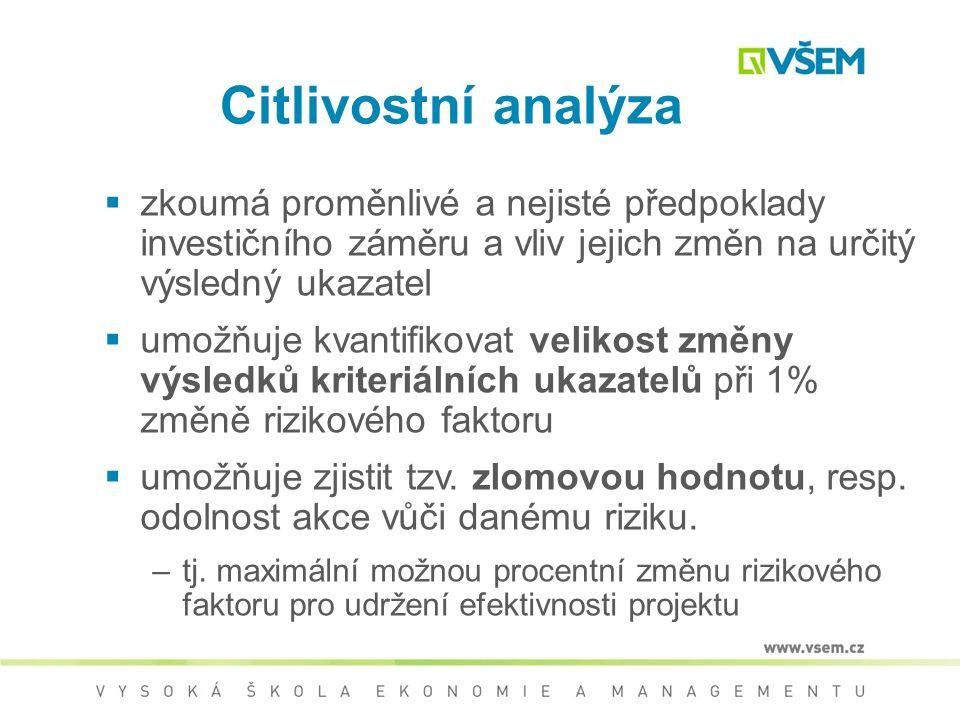 Citlivostní analýza zkoumá proměnlivé a nejisté předpoklady investičního záměru a vliv jejich změn na určitý výsledný ukazatel.