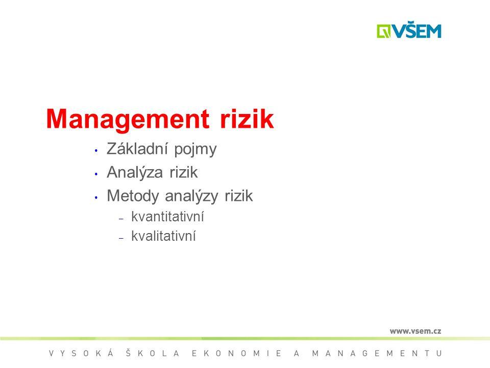 Management rizik Základní pojmy Analýza rizik Metody analýzy rizik