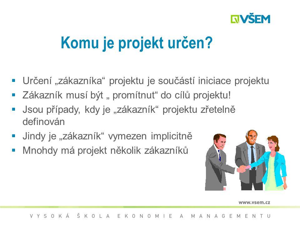 """Komu je projekt určen Určení """"zákazníka projektu je součástí iniciace projektu. Zákazník musí být """" promítnut do cílů projektu!"""