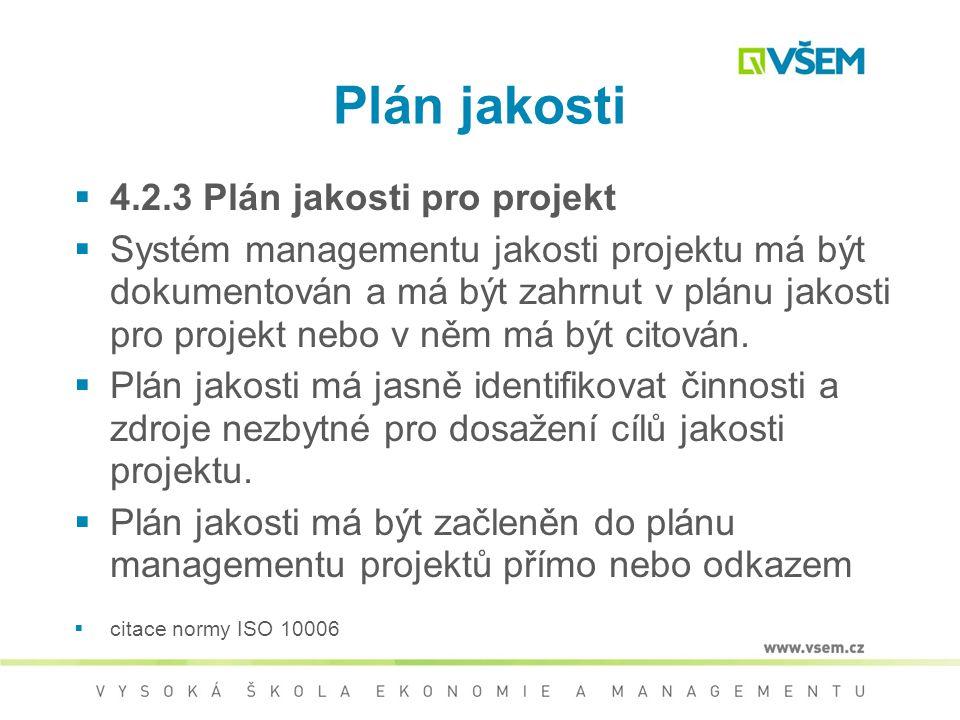 Plán jakosti 4.2.3 Plán jakosti pro projekt