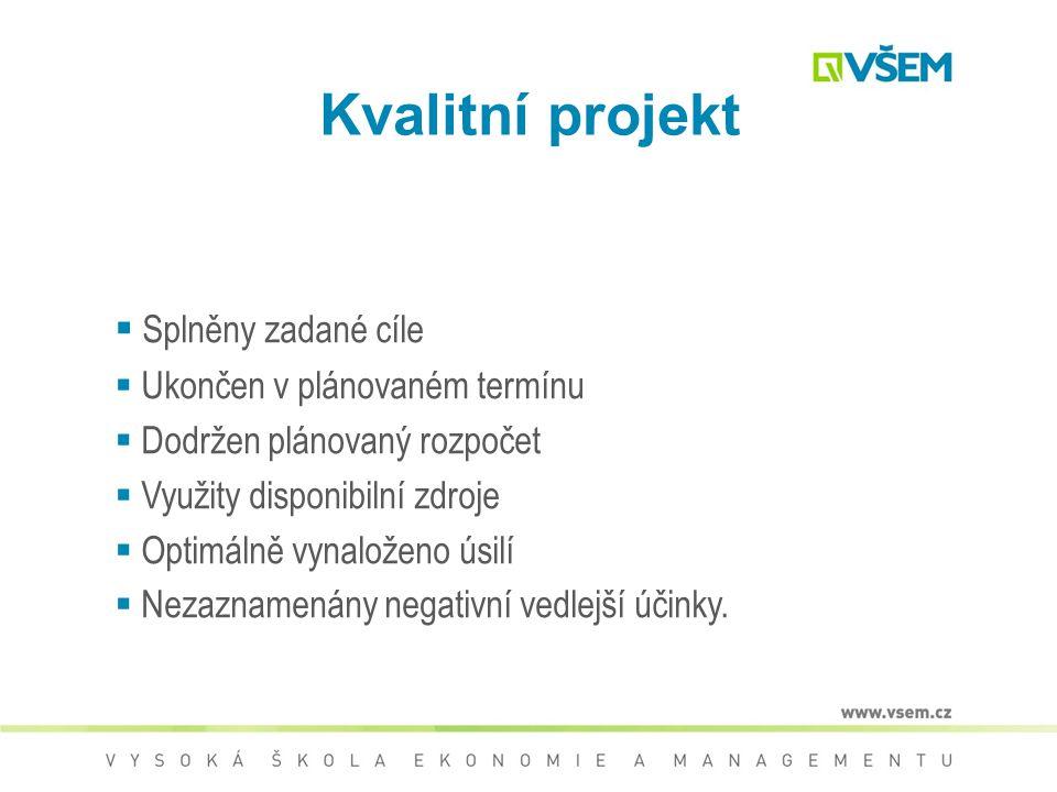 Kvalitní projekt Splněny zadané cíle Ukončen v plánovaném termínu