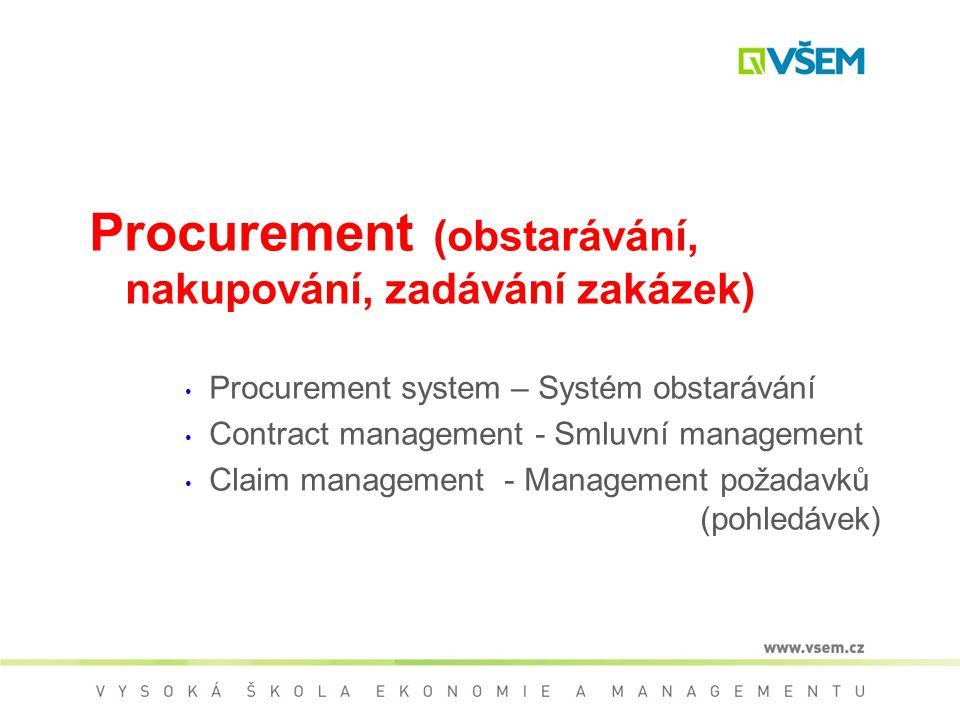 Procurement (obstarávání, nakupování, zadávání zakázek)