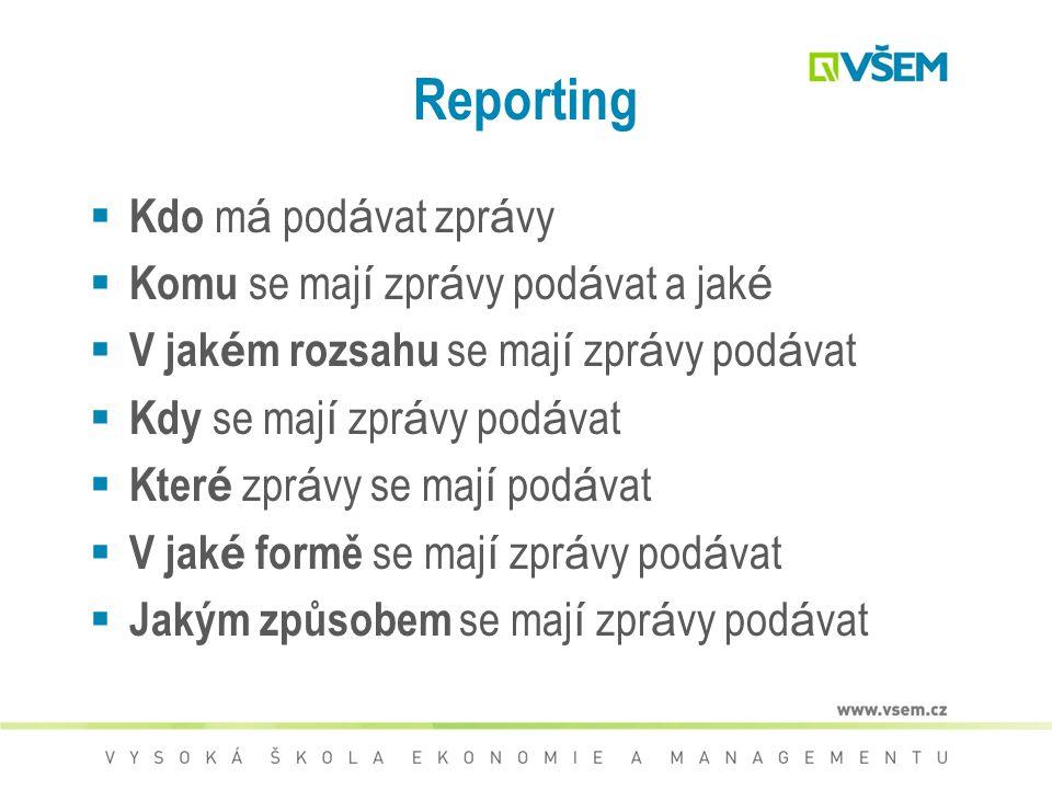 Reporting Kdo má podávat zprávy Komu se mají zprávy podávat a jaké