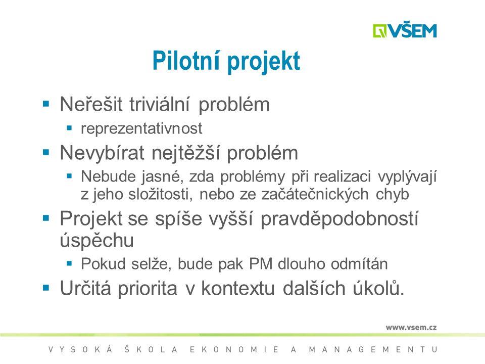 Pilotní projekt Neřešit triviální problém Nevybírat nejtěžší problém