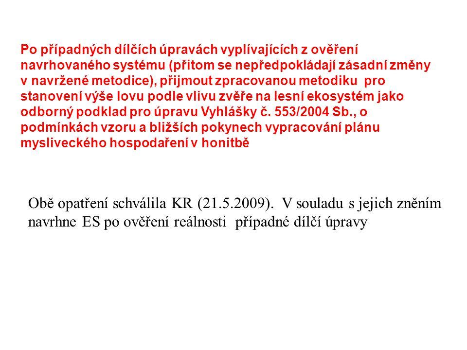 Po případných dílčích úpravách vyplívajících z ověření navrhovaného systému (přitom se nepředpokládají zásadní změny v navržené metodice), přijmout zpracovanou metodiku pro stanovení výše lovu podle vlivu zvěře na lesní ekosystém jako odborný podklad pro úpravu Vyhlášky č. 553/2004 Sb., o podmínkách vzoru a bližších pokynech vypracování plánu mysliveckého hospodaření v honitbě