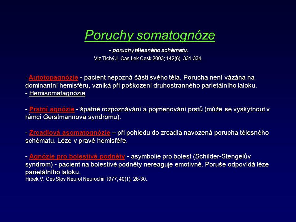 Poruchy somatognóze. - poruchy tělesného schématu. Viz Tichý J
