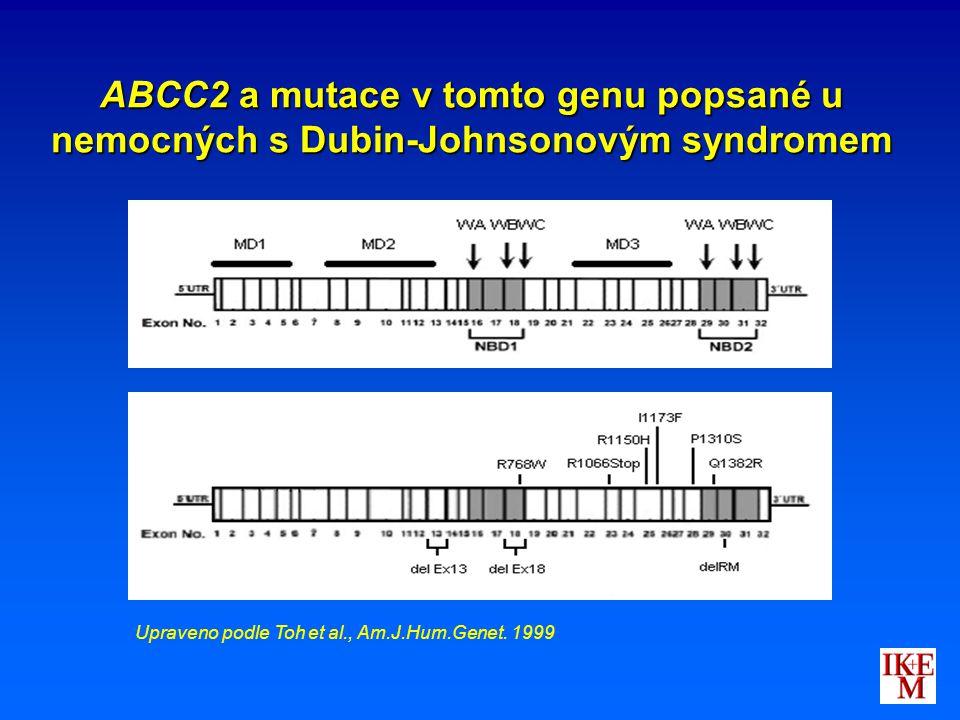 ABCC2 a mutace v tomto genu popsané u nemocných s Dubin-Johnsonovým syndromem