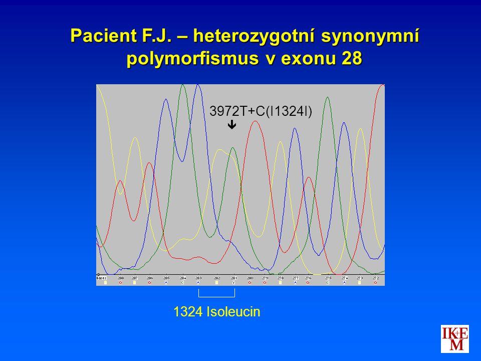 Pacient F.J. – heterozygotní synonymní polymorfismus v exonu 28