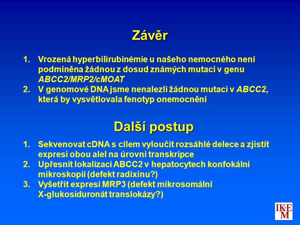 Závěr Vrozená hyperbilirubinémie u našeho nemocného není podmíněna žádnou z dosud známých mutací v genu ABCC2/MRP2/cMOAT.