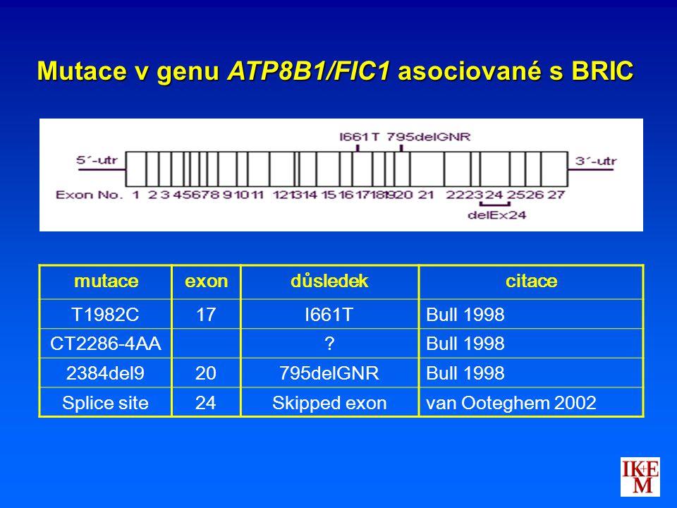 Mutace v genu ATP8B1/FIC1 asociované s BRIC