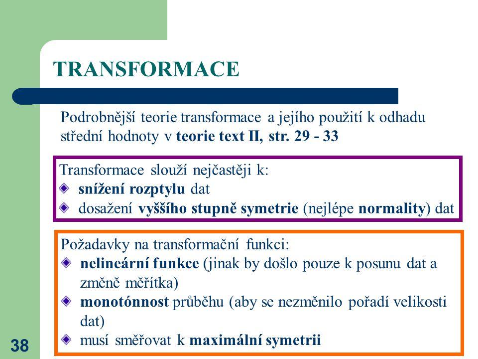 TRANSFORMACE Podrobnější teorie transformace a jejího použití k odhadu střední hodnoty v teorie text II, str. 29 - 33.
