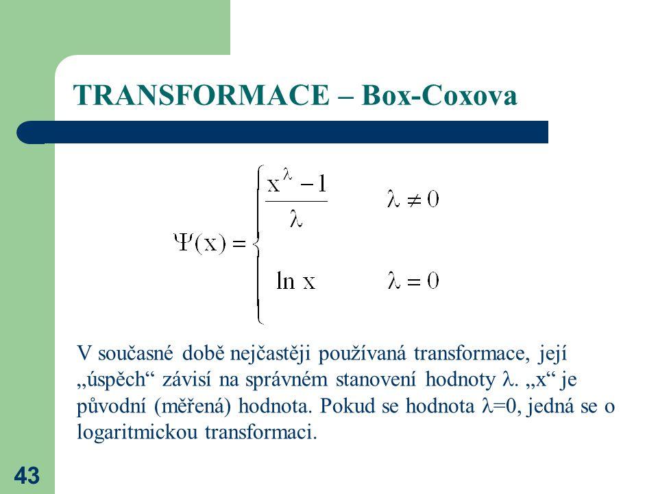TRANSFORMACE – Box-Coxova