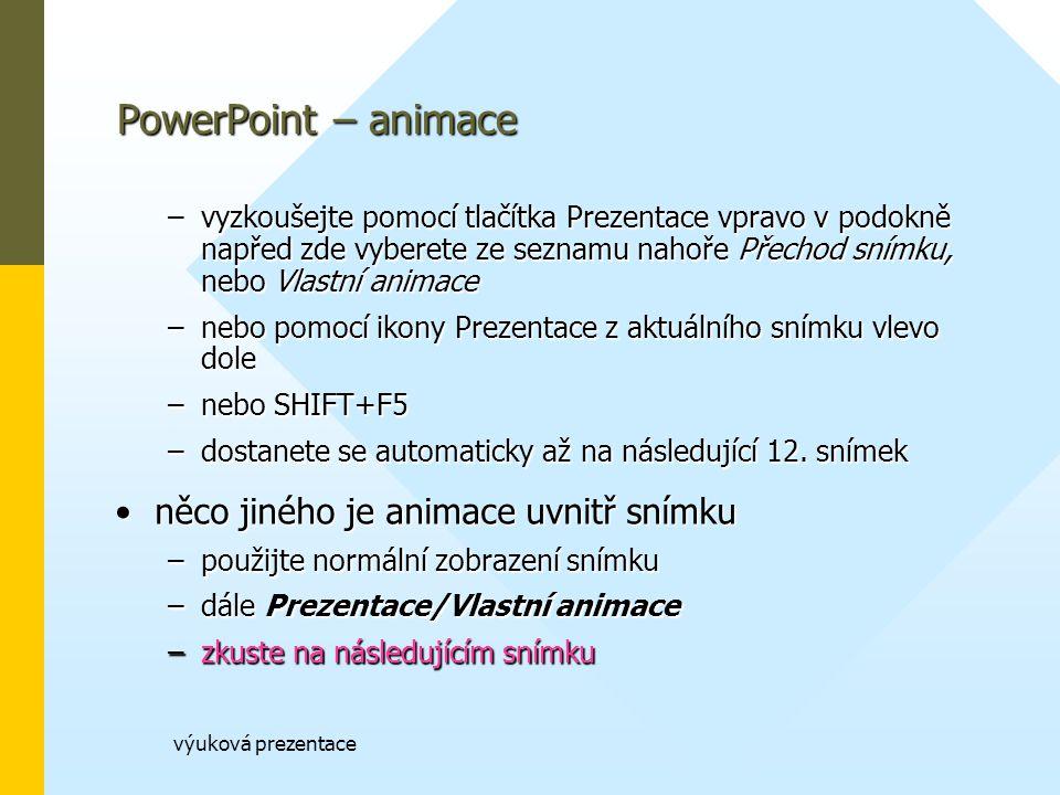 PowerPoint – animace něco jiného je animace uvnitř snímku