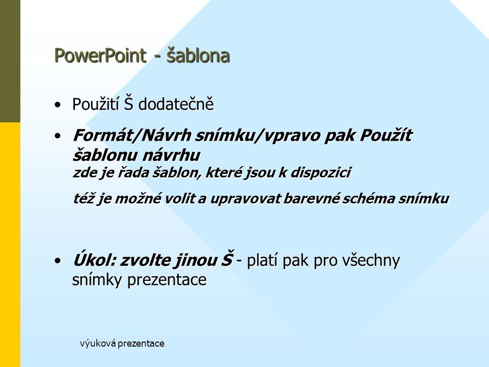 PowerPoint - šablona Použití Š dodatečně