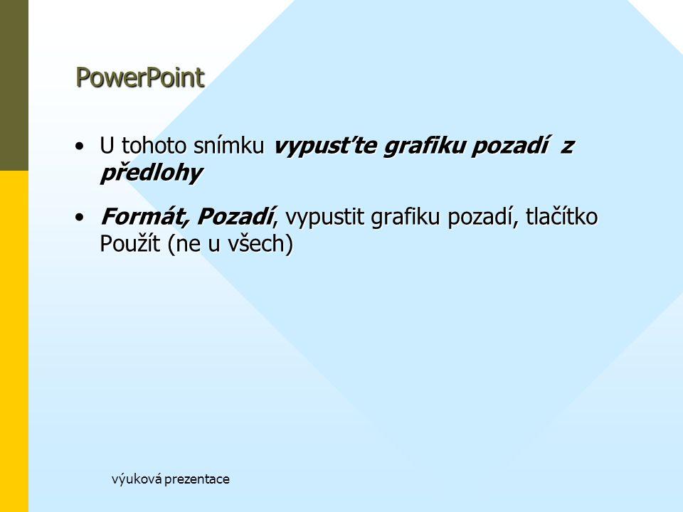 PowerPoint U tohoto snímku vypusťte grafiku pozadí z předlohy