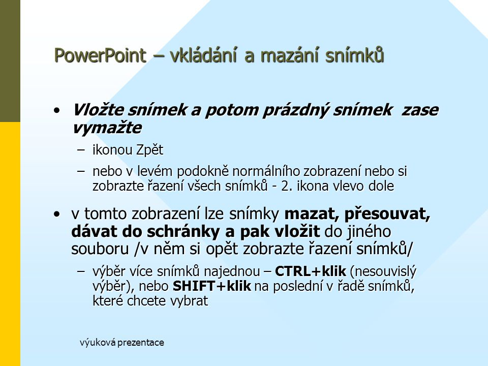 PowerPoint – vkládání a mazání snímků