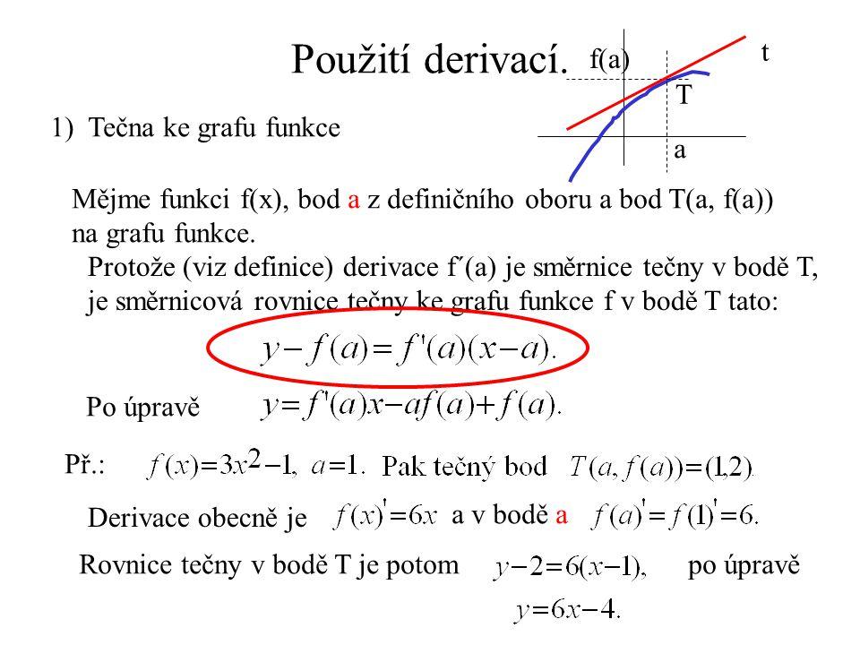 Použití derivací. a f(a) T t 1) Tečna ke grafu funkce