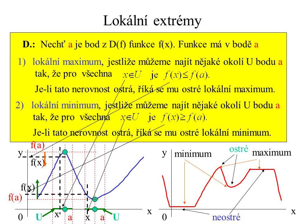 Lokální extrémy D.: Nechť a je bod z D(f) funkce f(x). Funkce má v bodě a. lokální maximum, jestliže můžeme najít nějaké okolí U bodu a.