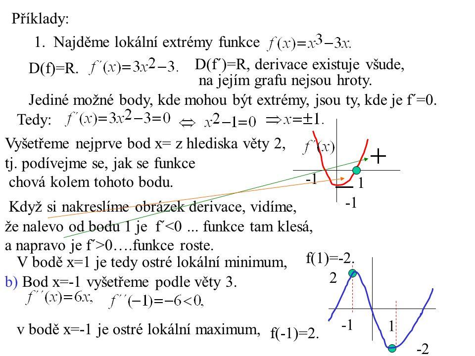 Příklady: 1. Najděme lokální extrémy funkce. D(f´)=R, derivace existuje všude, D(f)=R. na jejím grafu nejsou hroty.