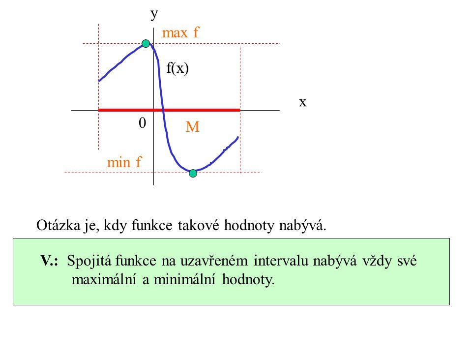 y max f. f(x) x. M. min f. Otázka je, kdy funkce takové hodnoty nabývá. V.: Spojitá funkce na uzavřeném intervalu nabývá vždy své.
