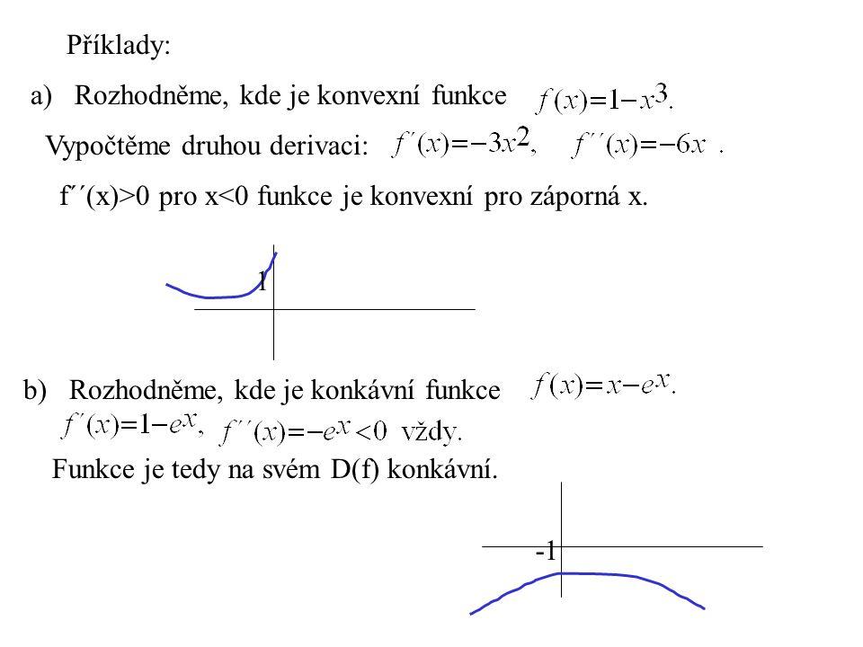 Příklady: a) Rozhodněme, kde je konvexní funkce. Vypočtěme druhou derivaci: f´´(x)>0 pro x<0 funkce je konvexní pro záporná x.