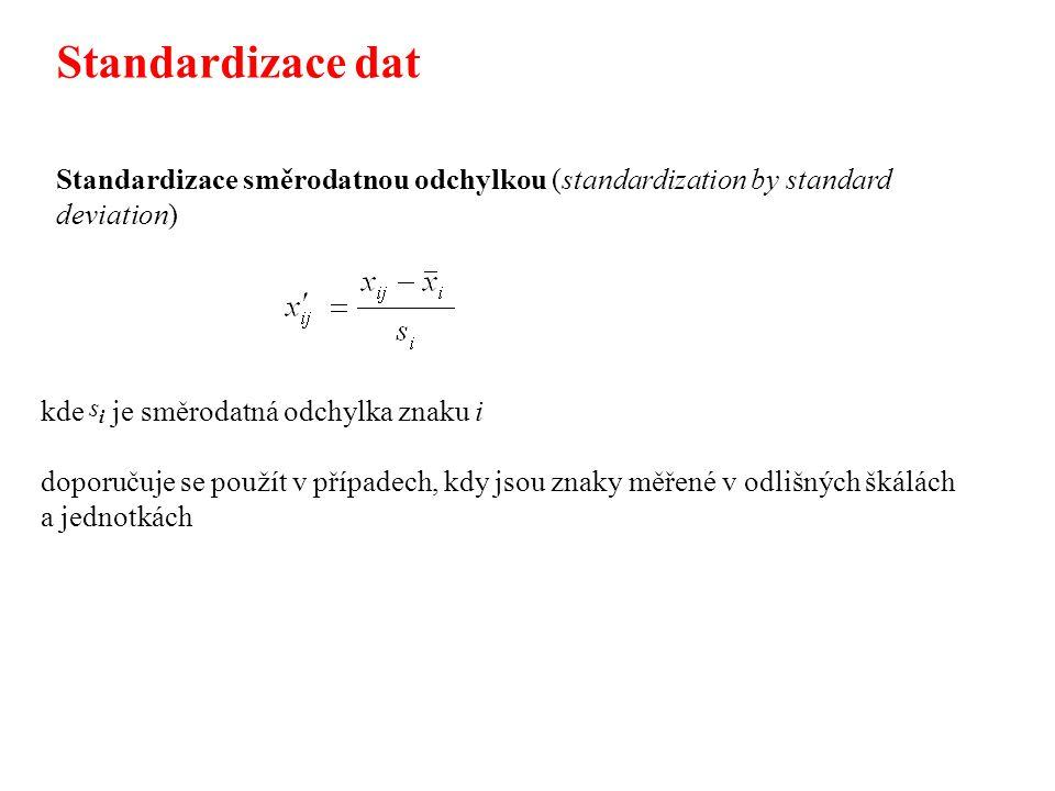 Standardizace dat Standardizace směrodatnou odchylkou (standardization by standard deviation) kde je směrodatná odchylka znaku i.