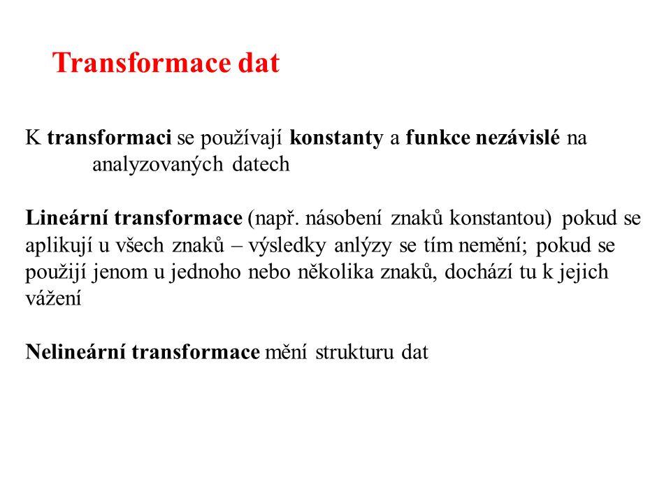 Transformace dat K transformaci se používají konstanty a funkce nezávislé na analyzovaných datech.
